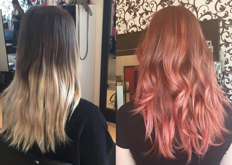 Photo of a girl at a salon with Rose Gold Color before and after