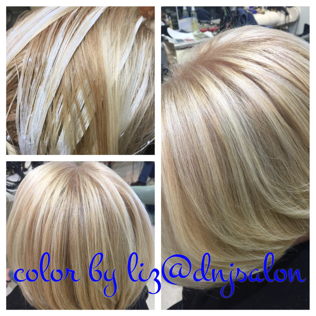 Hand painted highlights, blonde on blonde single process