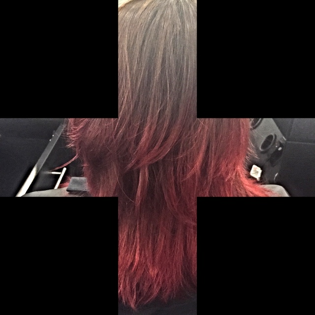 Brown to red ombré