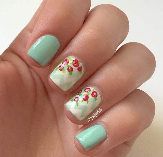 Mint Green and Pink Roses