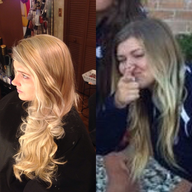 Before and after grown out to beautiful blonde