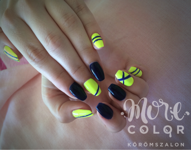 Navy blue&neon yEllow