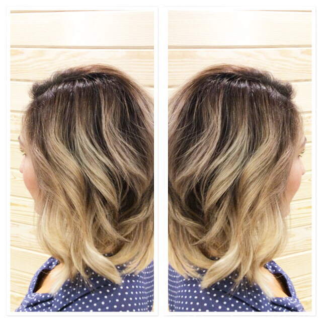 Reverse balyage utilizing Goldwell Colorance with adjusted mixing ratio 1:1 followed by a Colorance core overlay of 10BS 10V and clear.