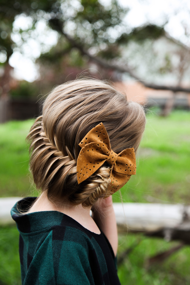Fishtail Updo with a bow