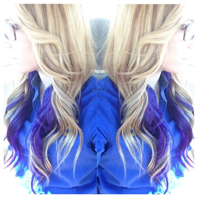Blonde & purple underneath