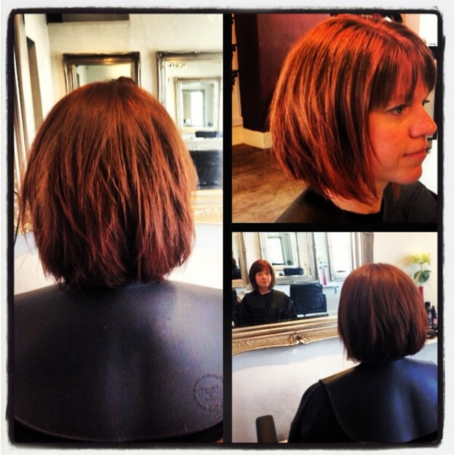 Jane went for a dramatic change! From long, soft layers with long length Jane decided to go for a soft inverted bob, with choppy layers giving her lots of volume and texture with a striking full fringe which frames her face!!! WE LOVE!!!