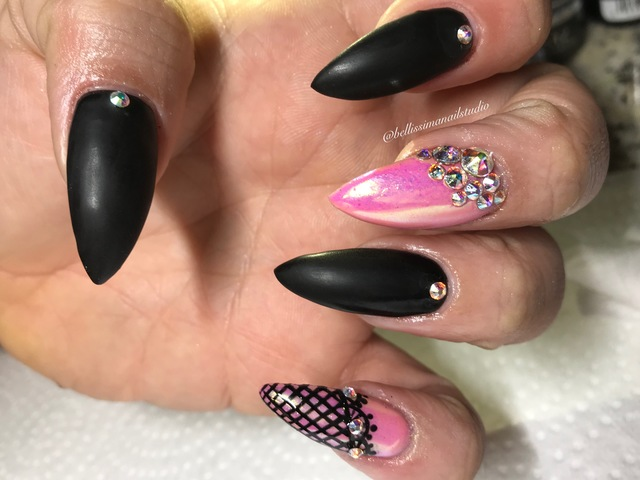 Pink and black lace mix