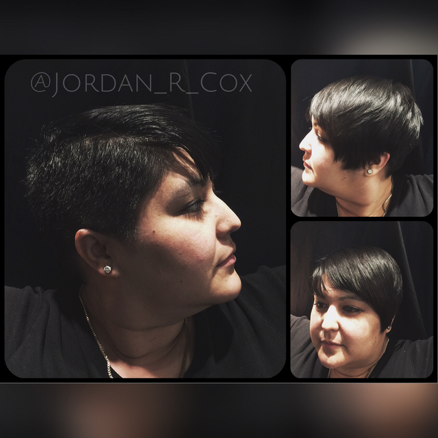 Disconnected pixie haircut.