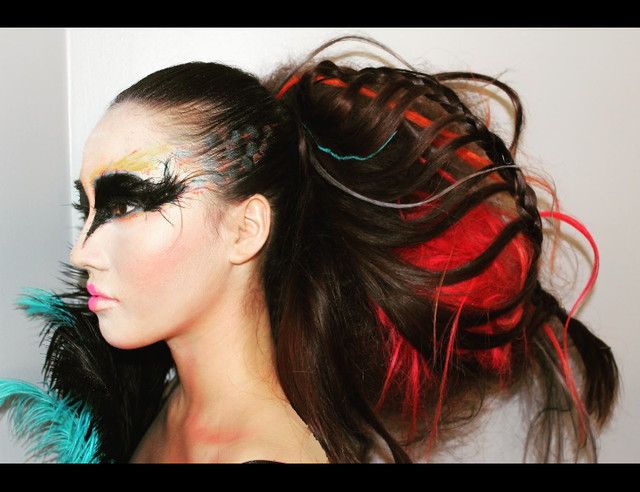 """bird"" graffiti art inspired hair art"