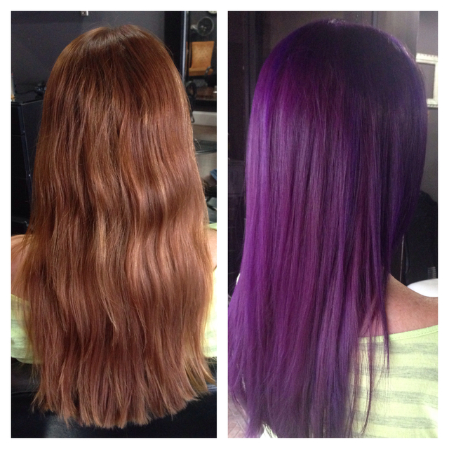 Transformation from golden ginger to vibrant violet // cut & color Kendi @ Sessions Hair Company - Daytona, FL // Custom violet formula made with Pravana Vivids