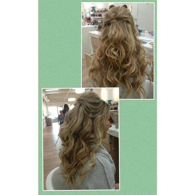 half up beachy waves