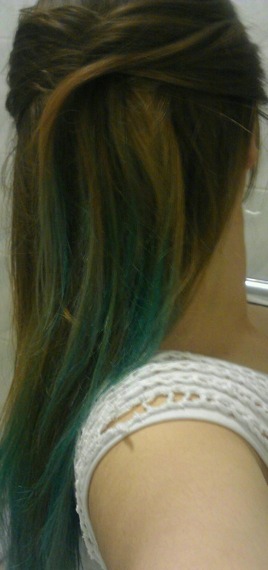 Long natural straight brown, blonde and bubblegum blue ombre.