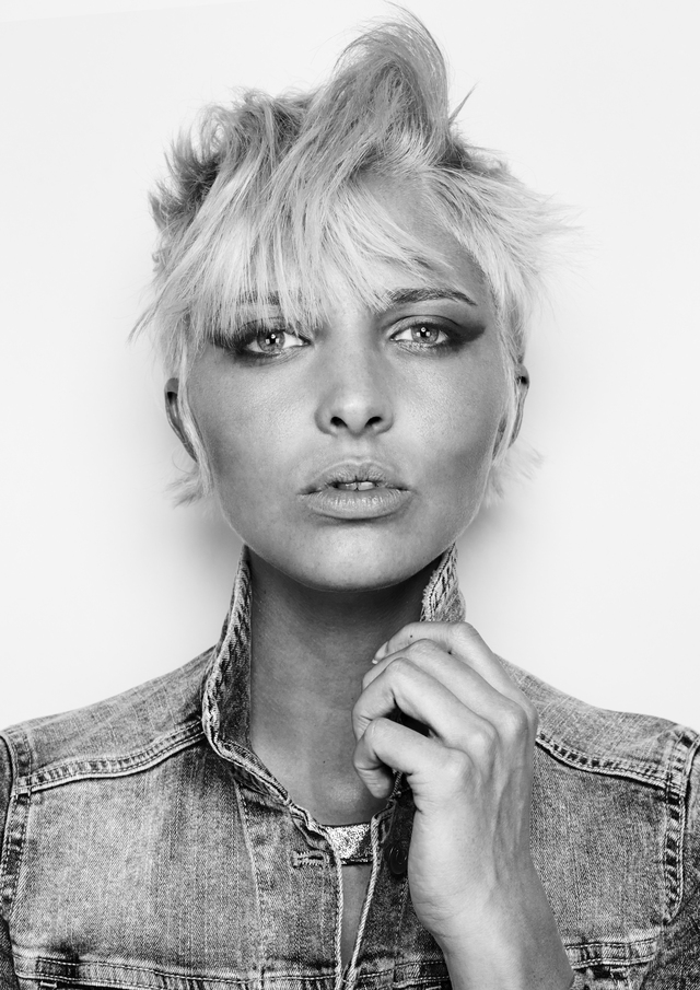 photo of a girl with short blonde pixie cut