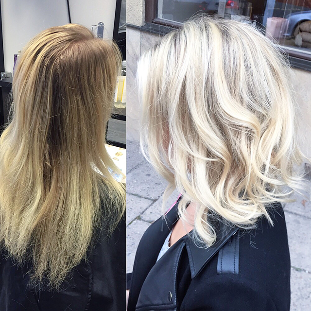 Before and after with Olaplex, and long hair to a lob.
