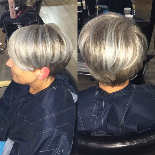 #color.me | Double process | Balayage & color balancing. We eliminated all her old blonde highlights while still maintaining her natural color at the root.