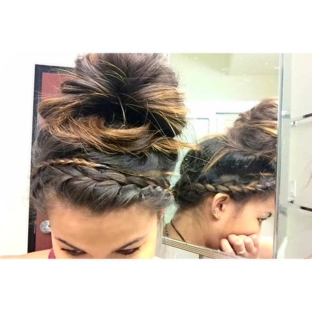 Double halo-braid with messy bun. Quick and easy college look using Amika (dry shampoo) and Kevin.Murphy (Doo.Over)