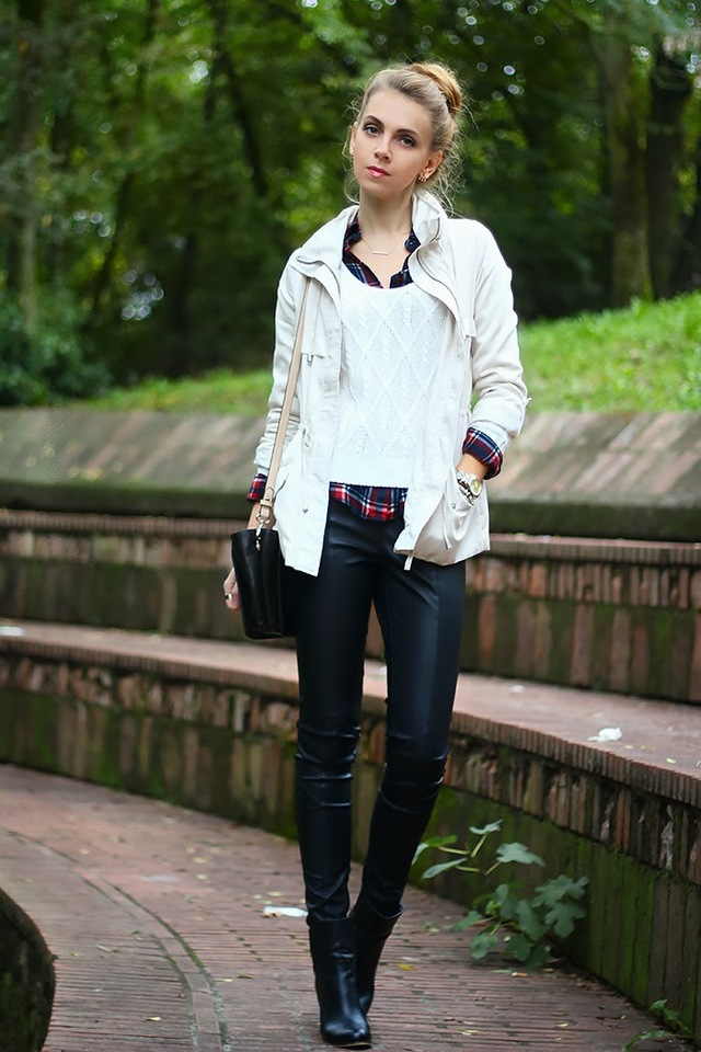 black-and-white-outfit-leather-pants-plaid-shirt-6