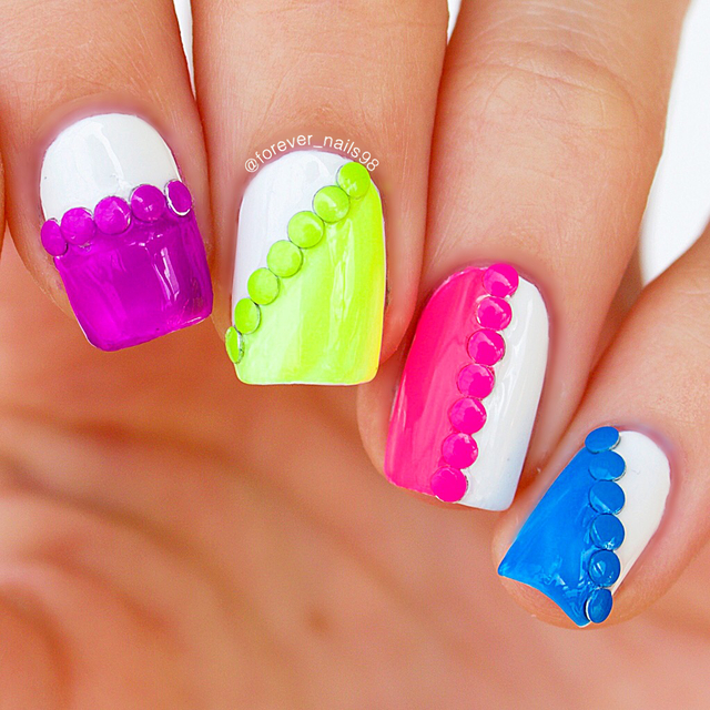 neon studded nails