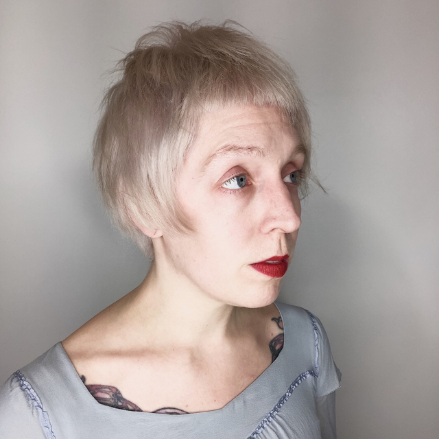 Pearl blonde minibob with micro fringe • cut by Chloe Nelson color by Nicole Derba of Shag Salon