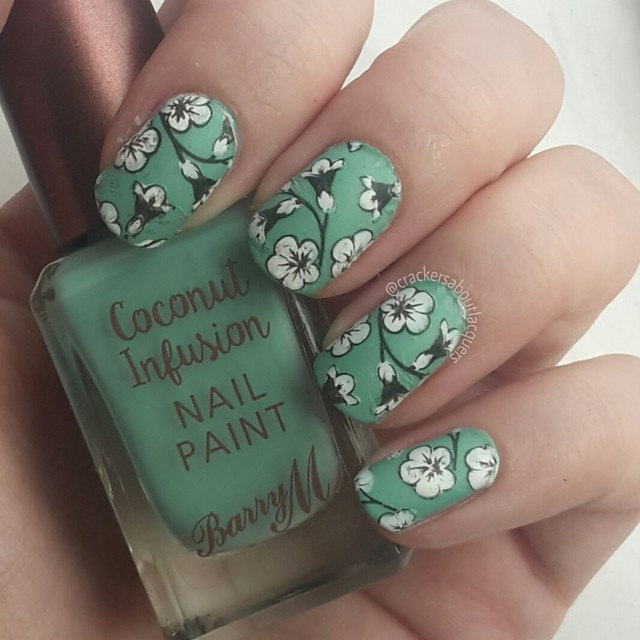 green floral stamping