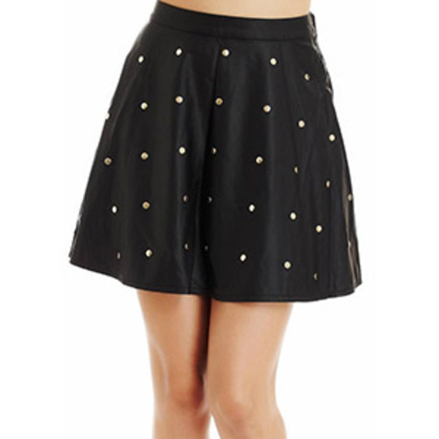 2b-Leatherette-Studded-Half-Circle-Skirt