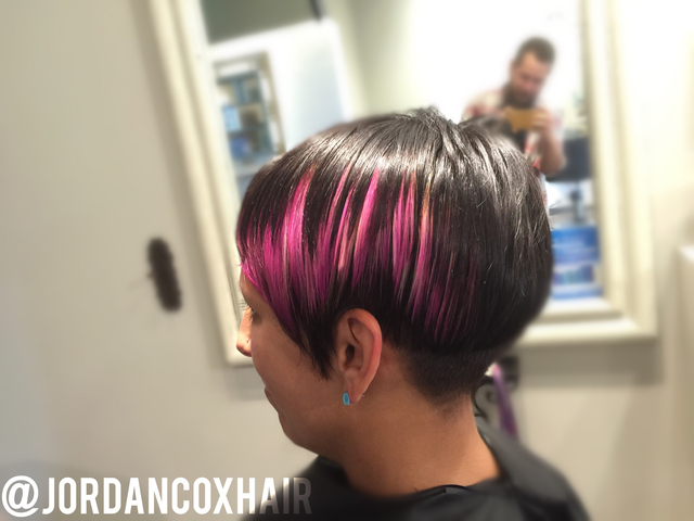 """Cactar"" color and custom pixie cut by me."