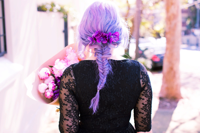 The perfect fishtail braid, purple pastel hair on Emi Unicorn. Photo by Kristina Yenko   www.emiunicorn.com