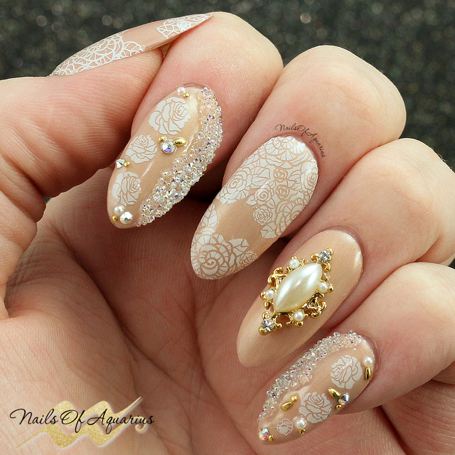 Diamonds & Pearls wedding nails