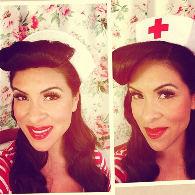Nurse or sailor pin up hair style for halloween
