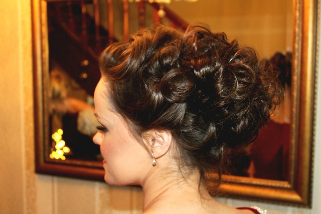 Soft curls updo