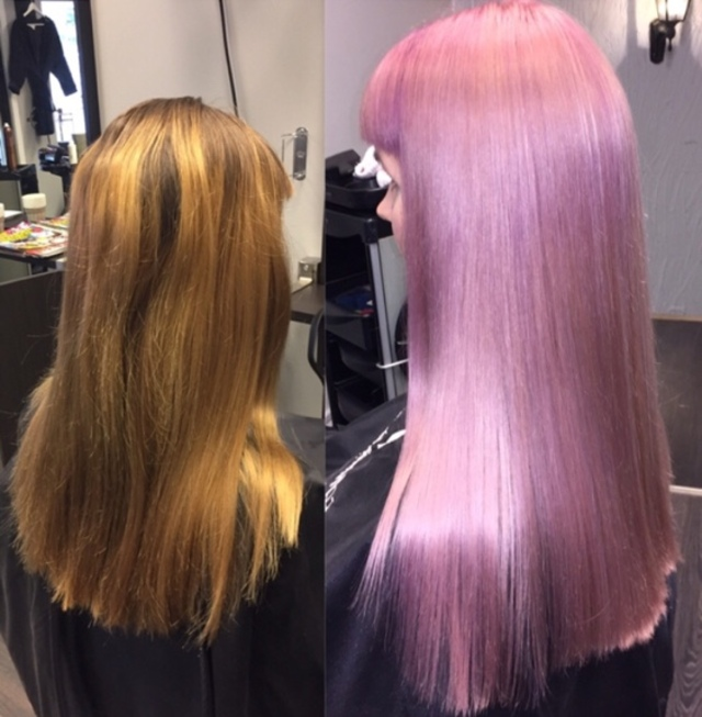 Pink hair with Olaplex