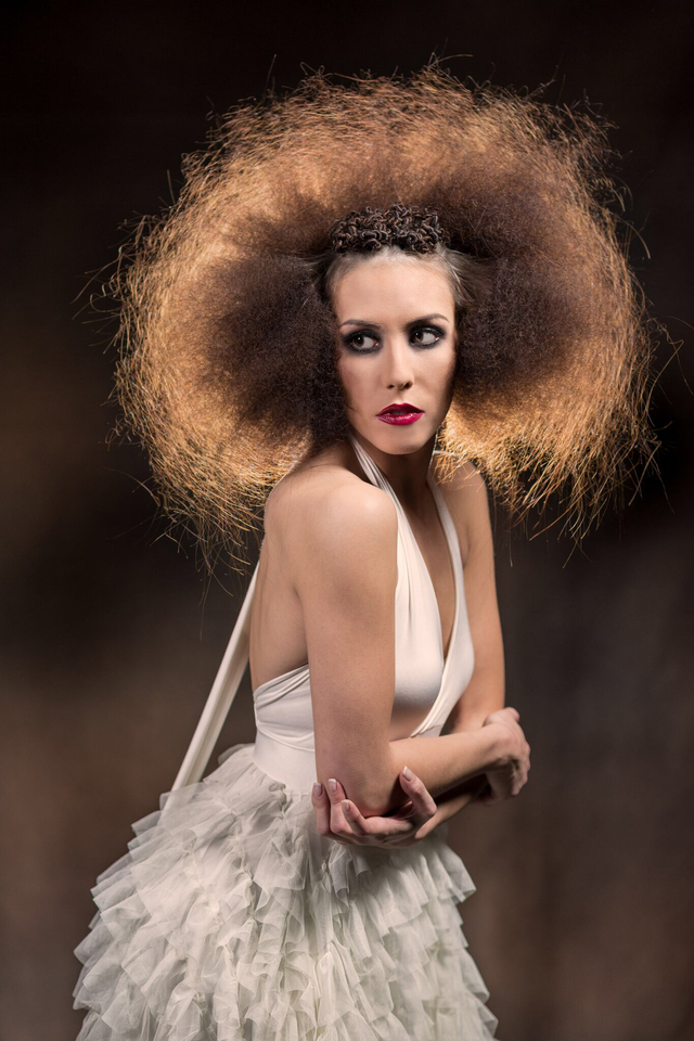 Another view. Hair, makeup and concept by me. Photo by Bart Cepek. Model Karina Guzman. Wardrobe by Rooney Mae couture.