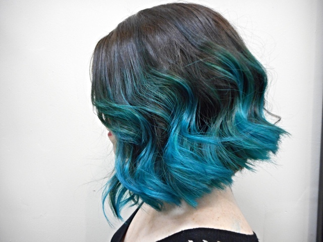 Teal Inverted bob