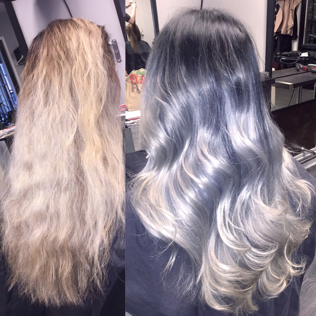 From blonde hair to black/blue/silver hair with Olaplex. Schwarzkopf color and styling with L'anza Healing Oil