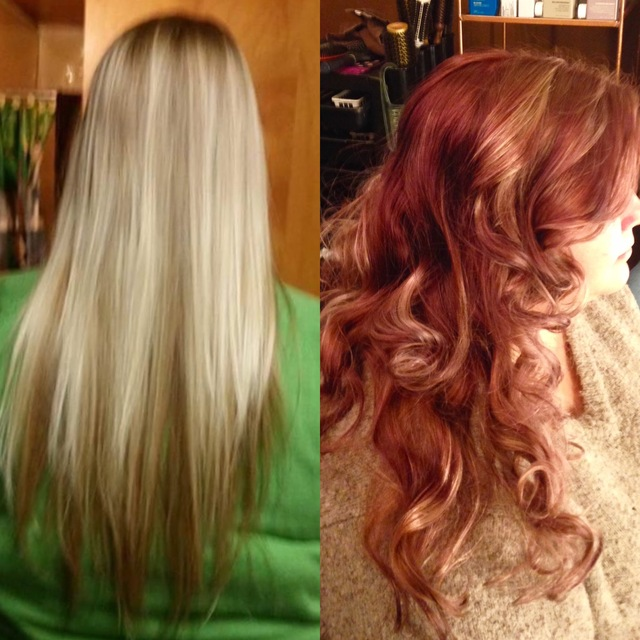 Blonde brown to rosy golden red
