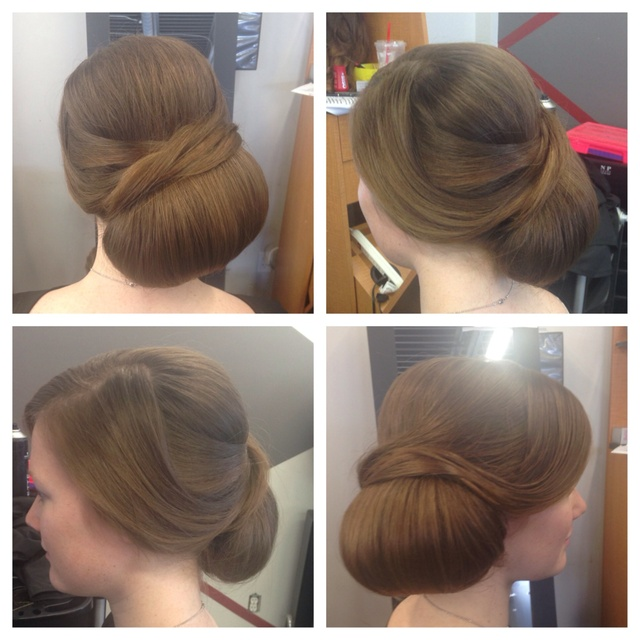 Clean, polished bridal updo