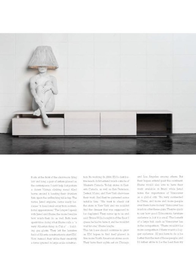 IZM furniture feature in Georgie magazine. Lamps are made out of hair and the model was the light fixture.