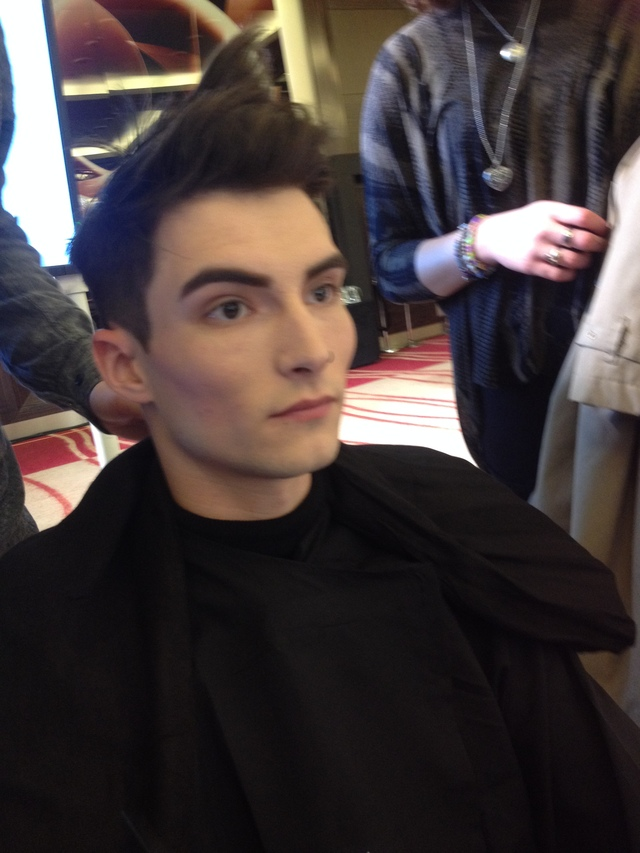 our model nathan being prepared for the catwalk!