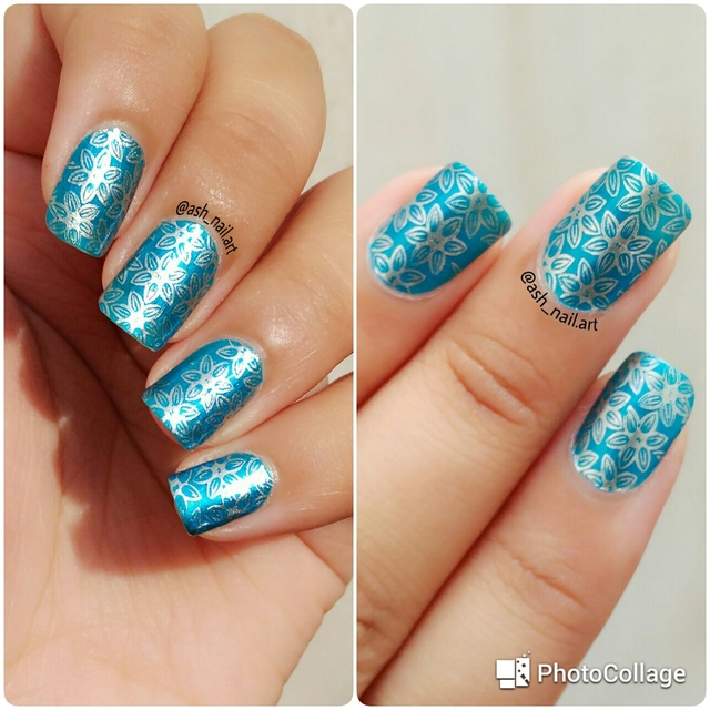 Silver stamping over blue base