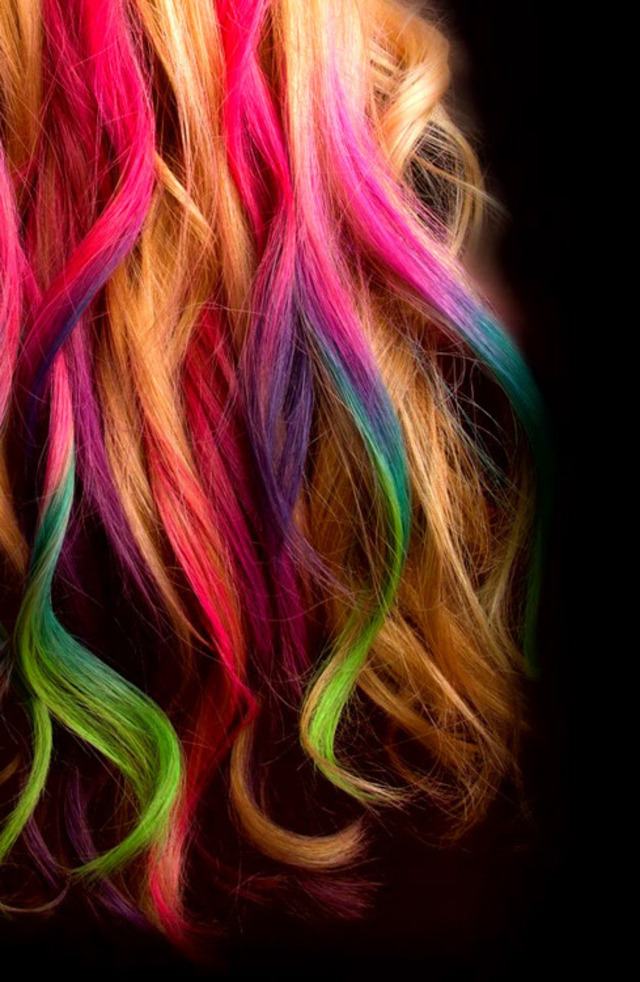colorful curled hair