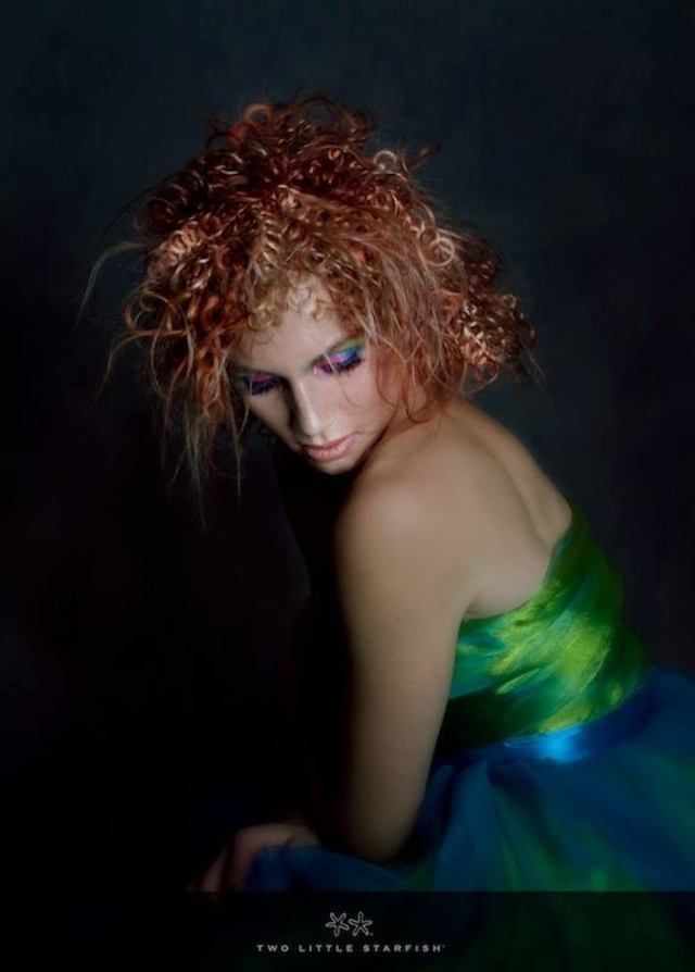 Cayti with wefts of soft copper crochet hair. Hair, colour, styling Laurel Stratford Images Two Little Starfish MUA Heavenly Faces Lynnette Watson