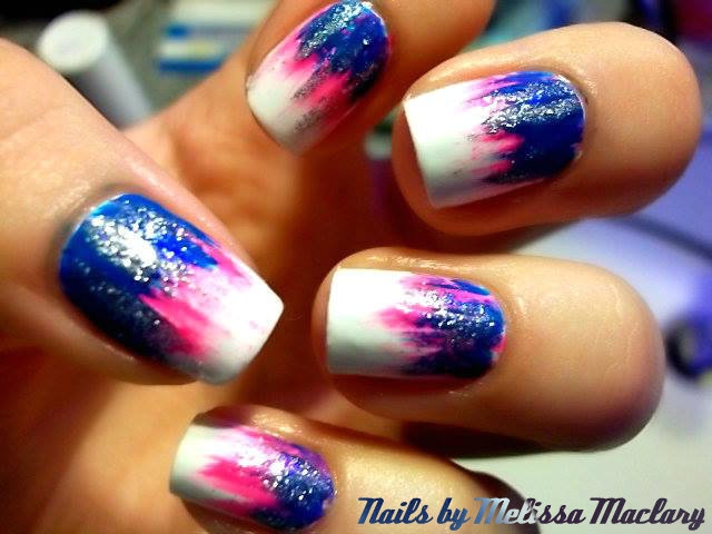 Blue, pink, and silver waterfall nails