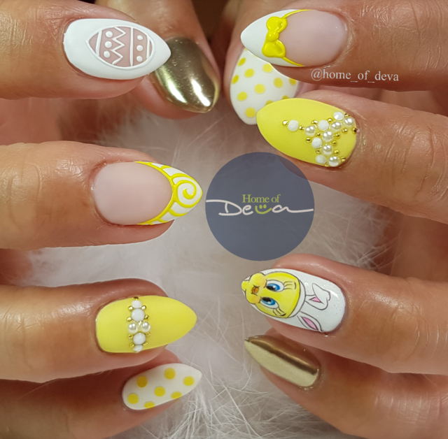 Tweety easter nails