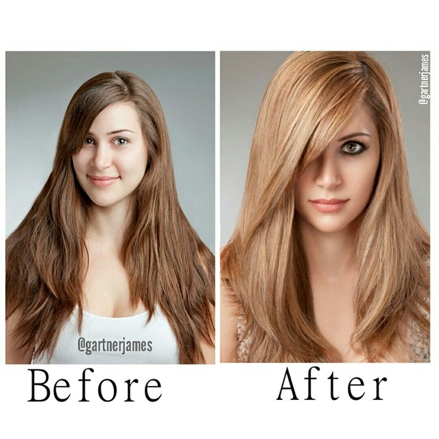 brunette to blond transformation