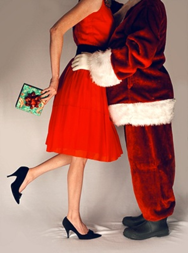 Mommy Kissing Santa Claus
