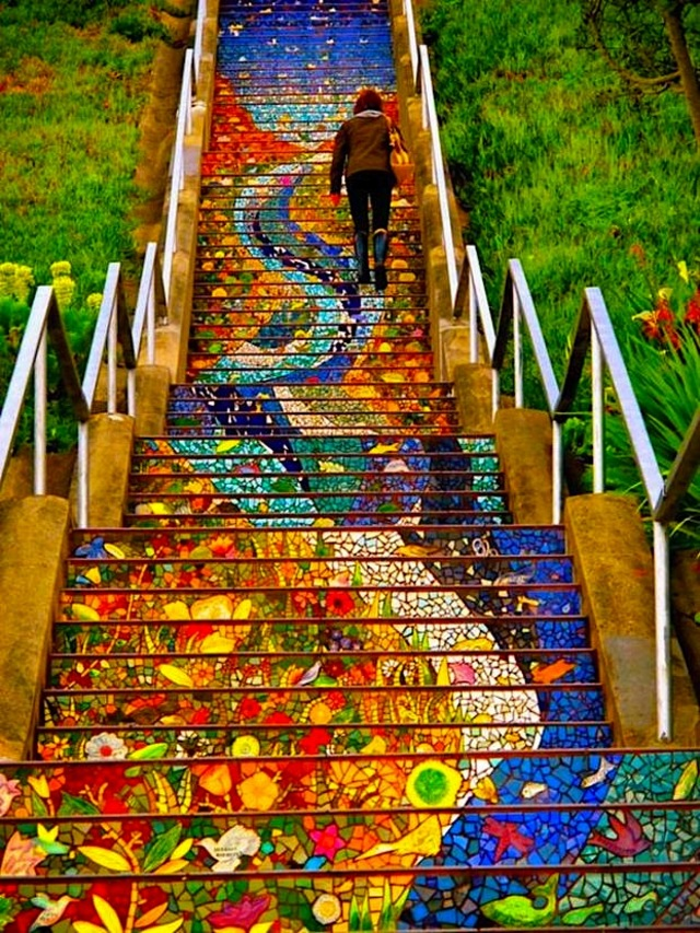 San Francisco Colored Tile Steps