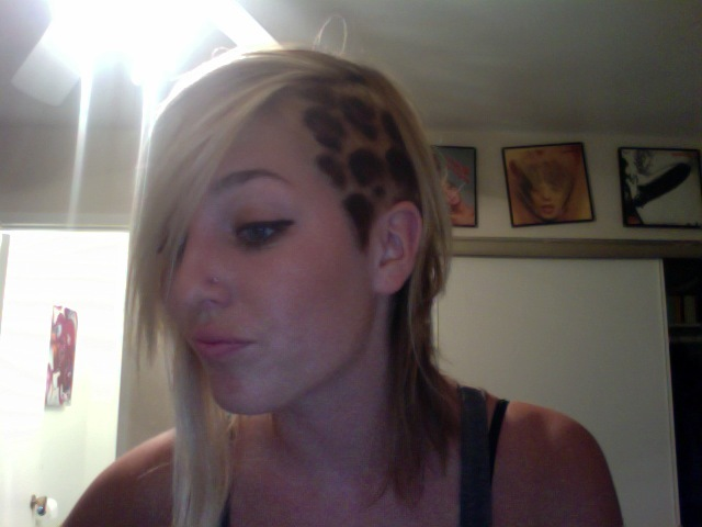 shaved side leopard print