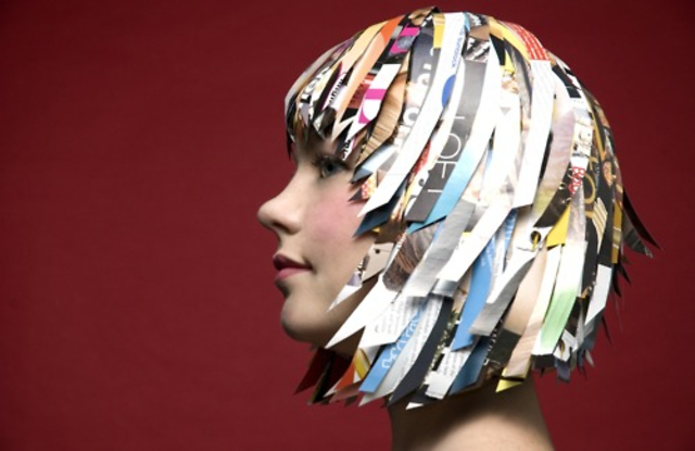 Photo Lauren Sykes, paper wig Juliana Koutouzakis