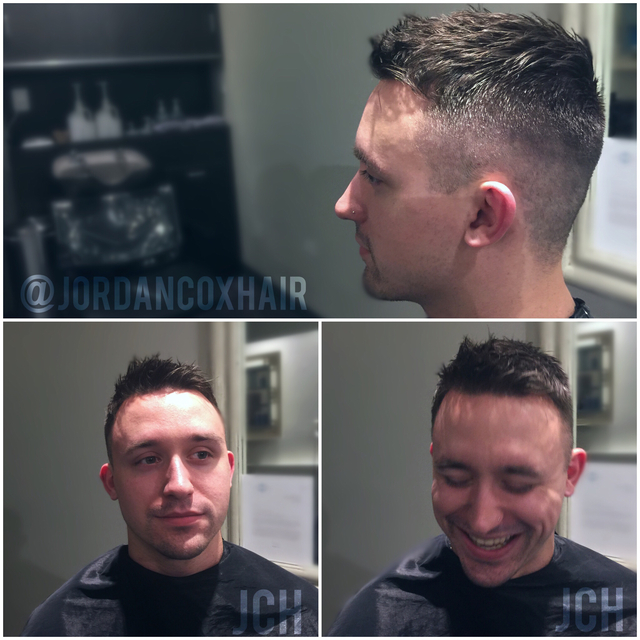 Mens fade by me- cut with scissors only(except for Wahl shaver shaper in neckline)
