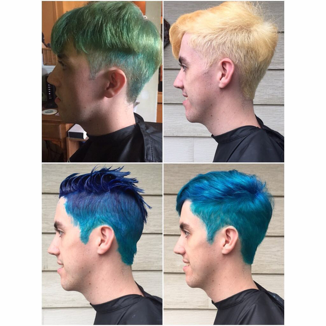Before, during, and after on this green to aqua transformation! Color corrections are fun!